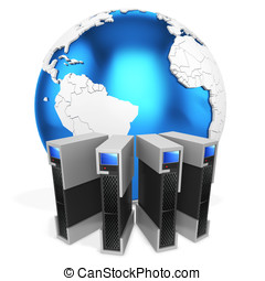 3d server blade units with earth globe on white background