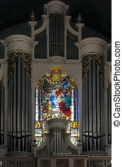 Lapa church stained glass window and pipe organ