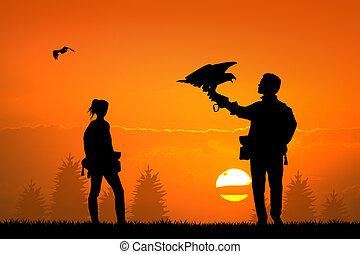 falconry at sunset