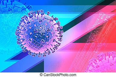 Avian Virus - Digital illustration of avian virus in colour...