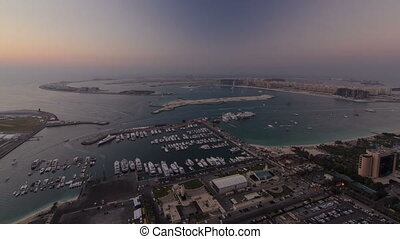 Dubai Marina wide angle Panorama from day to night transition timelapse