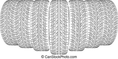 Wire-frame tires Vector - Wedge of wire-frame tires Vector...