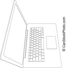 Wire-frame open laptop. Vector - Drawing of wire-frame open...