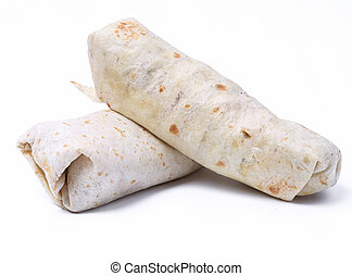 Delicious burrito on a white background