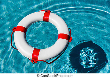 lifebuoy in the water, symbol, l for danger, accident,...