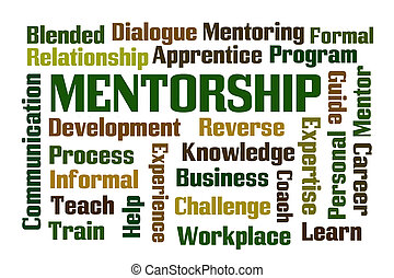 Mentorship word cloud on white background
