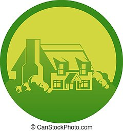 Cottage circle design - An abstract illustration of a farm...