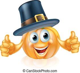 Thanksgiving pilgrim hat pumpkin man - A cartoon...