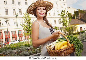 Fresh and healthy. - Beautiful young brunette woman on a...