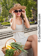 Healthy shopping. - Portrait of a gorgeous young brunette...