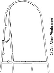 Wire-frame sidewalk sign. Vector - Drawing of wire-frame...