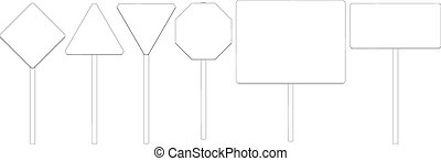 Wire-frame road signs. Vector - Set of wire-frame road...