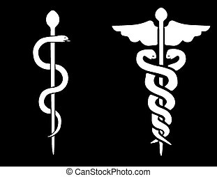Vector of a Rod of Asclepius and a Caduceus on a black...