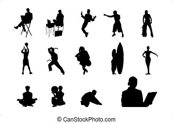 People Vector Silhouette - 04 - Lifestyle People in...