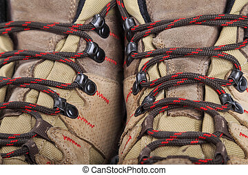 Hiking boots in close-up - Close-up image of high hiking...