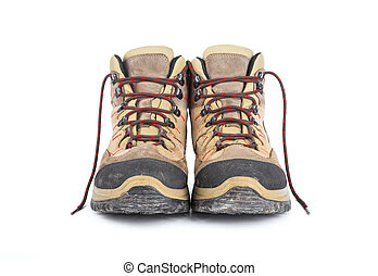 Used hiking boots - Dirty hiking boots isolated on white...