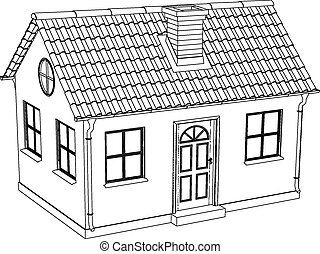 Wire-frame house Vector illustration rendering of 3d