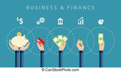 business and finance vector background on blue