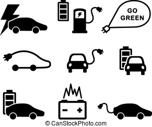 Electric car icons vector set on white