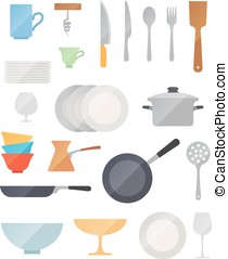 Dish flat vector set on white background