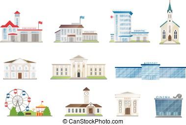 Public city buildings vector set on white