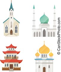 Church vector set - Church architecture vector set on white...