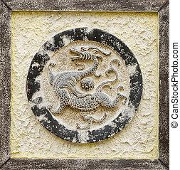 chino, religioso, piedra, escultura, dragón