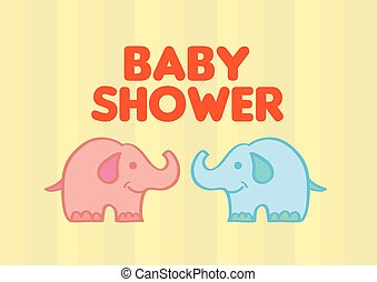 Cute Baby Elephants Vector Illustration for Baby Shower -...
