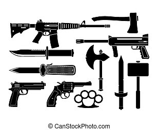 weapons - silhouette - suitable for illustrations