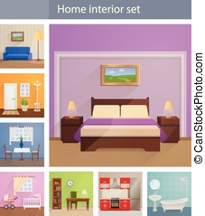 Home interiors vector set - Many different home interiors...