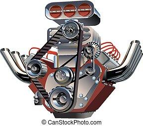 vecteur, dessin animé, turbo, moteur,