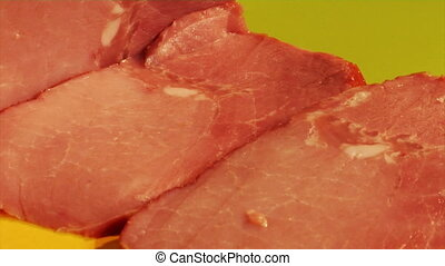 meat cutting - the close-up of meat cutting process