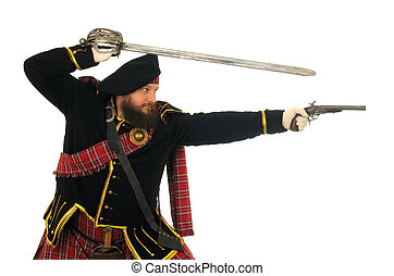 Scottish warrior in the medieval uniform
