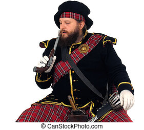 Scottish warrior with pistol - Scottish warrior in the...