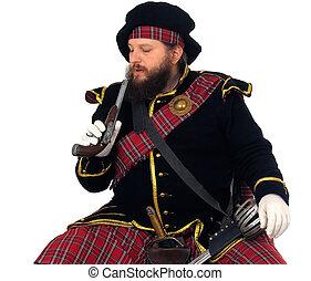 Scottish warrior with pistol - Scottish warrior in the...