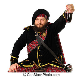 Celebrating Victory - Scottish warrior celebrating the...