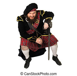 Scottish warrior with bottle of red wine - Scottish warrior...