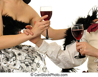 Love story - Lovers on evening-party with glasses of vine