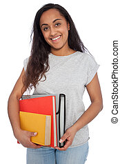 Young Girl Holding Books and Document Organizer - Close up...
