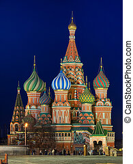 Saint Basil Cathedral, Russia on Red Square at night