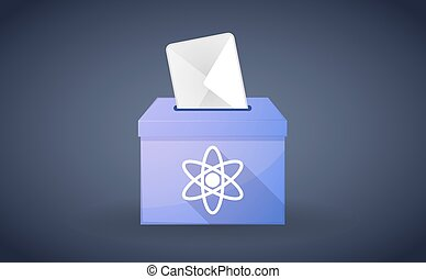 Ballot box with a vote and an atom - Illustration of a...