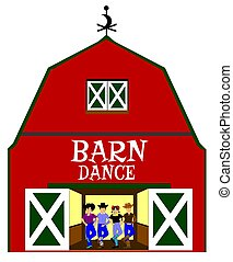 barn dance with dancers inside over white