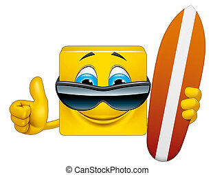 Square emoticon surfer