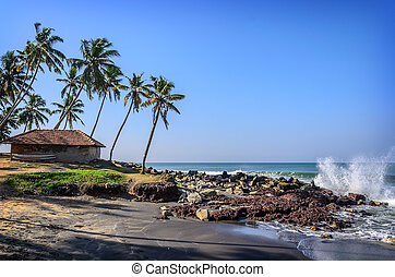 Tropical Indian village in Varkala, Kerala, India - Tropical...