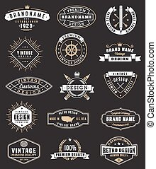 Vector Vintage logos and Insignas - Collection of fifteen...