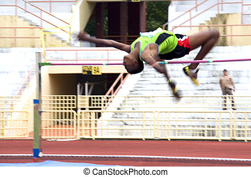 High Jump Action Blurred - Image of a high jumper in action...