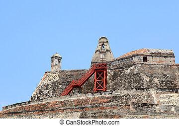 Castillo San Felipe fortress in Cartagena, Colombia - The...