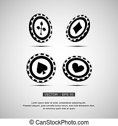 black casino chip isolated on white background