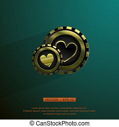 Golden casino chip - hearts golden casino chip isolated on...