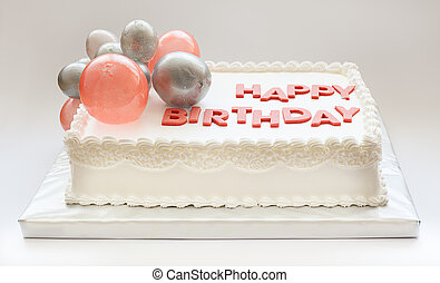 Happy Birthday Cake - Details of a happy birthday cake, on...